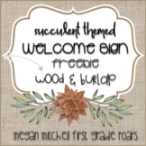 Succulent Theme Welcome Sign Shiplap & Burlap Freebie
