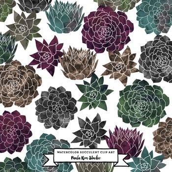 Succulent Flower Watercolor Clip Art - Emeralds and Darks
