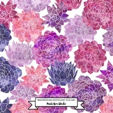 Succulent Flower Watercolor Clip Art - Pink and Purple