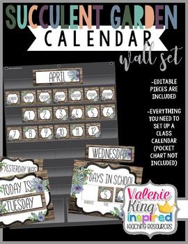 Succulent Garden Collection: Classroom Wall Calendar Set