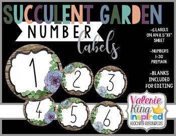 Succulent Garden Collection: Number Labels (Succulent Farmhouse)