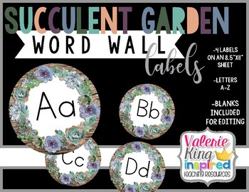 Succulent Garden Collection: Word Wall Labels (Succulent Farmhouse)