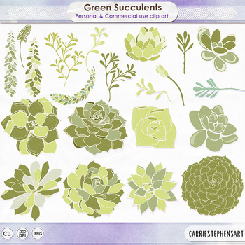 Green Succulents ClipArt Flowers, Cactus Foliage