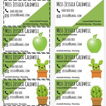 Succulent/Green Themed Relief Teacher Business Cards   EDITABLE