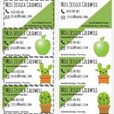 Succulent/Green Themed Relief Teacher Business Cards | EDITABLE