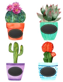 Succulent Labels Editable
