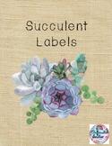 Succulent Labels Editable