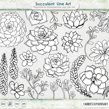 Succulent Line Art, Flower Clipart, Cactus