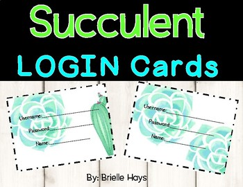 Succulent Login Cards