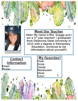 Succulent Meet the Teacher Letter