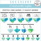Succulent Positive Vibes & Subject Banners (58 Pennants w/ 8 Editable Pennants)