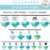 Succulent Positive Vibes & Subject Banners (58 Pennants w/