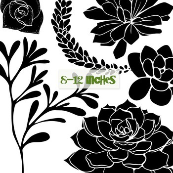 Succulents, Cactus Flower Silhouettes, Digital Stamps to Recolor