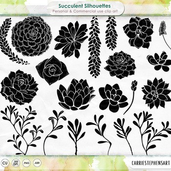 Succulent Silhouettes, Digital Stamps to Recolor