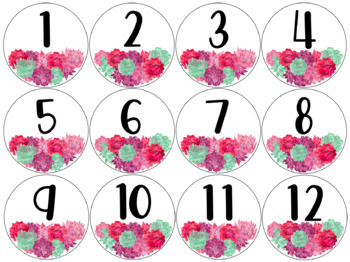Succulent Small Circular Student Numbers (with Editable Version)