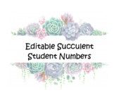 Succulent Student Numbers -Editable