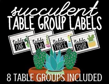 Succulent Table Group Labels