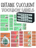 Succulent Teacher Toolbox Labels EDITABLE - cactus