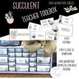 Succulent Cactus Teacher Toolbox Labels | Fully Editable |