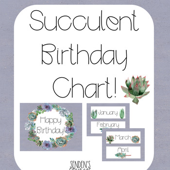 Succulent Theme Birthday Chart