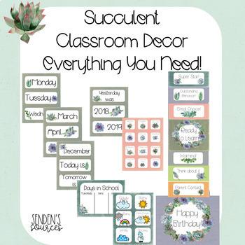 Succulent Theme Classroom Decor Bundle!