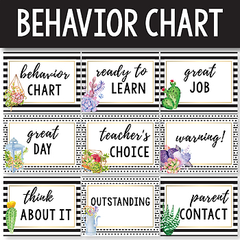 Behavior Chart Editable - Succulent Classroom Decor - Cactus Classroom Decor
