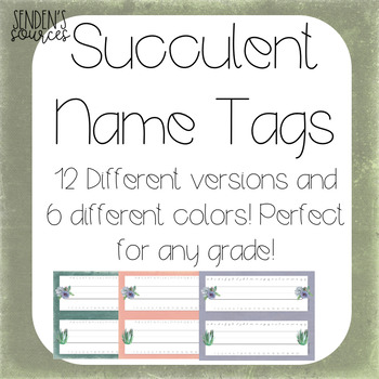 Succulent Theme Name Tags