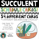 Succulent Theme Schedule Cards! 54 Different Cards!