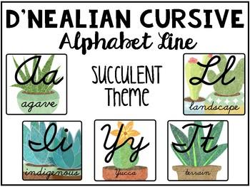Succulent-Themed Alphabet Line (D'Nealian Cursive)