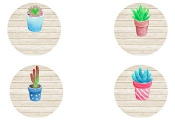 Succulent Themed Circular Labels (Editable) #ausbts18