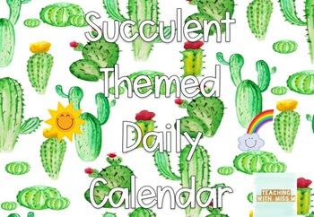 Succulent Themed Daily Calendar #ausbts18