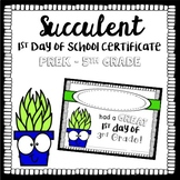 Succulent Themed First Day Certificate
