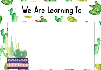 Succulent Themed Learning Intentions #ausbts18