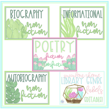 Succulent Themed Library Genre Labels