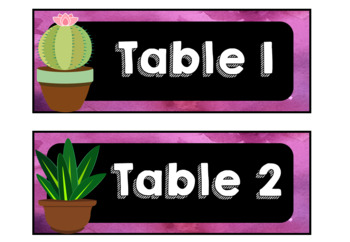 Succulent Themed Table Numbers