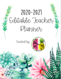 Succulent Themed-Teacher Planner EDITABLE