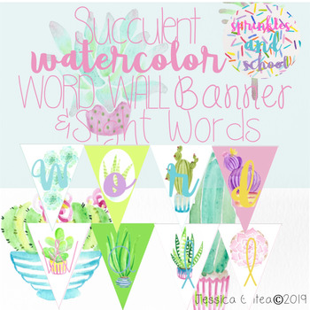 Succulent Themed Word Wall Banner and Dolch Sight Words TK-3rd Grade
