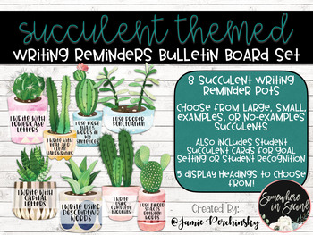 Succulent Themed Writing Reminders Bulletin Board Set