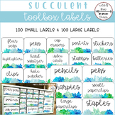 Succulent Toolbox Organizer Teacher Supply Labels