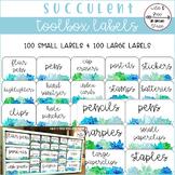 Succulent Toolbox Organizer Teacher Supply Labels