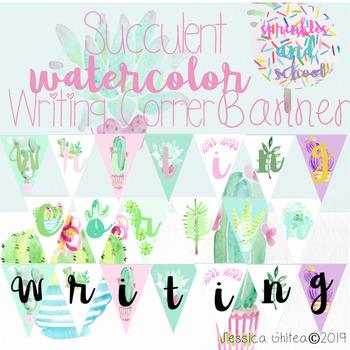 Succulent Writing Corner Banner