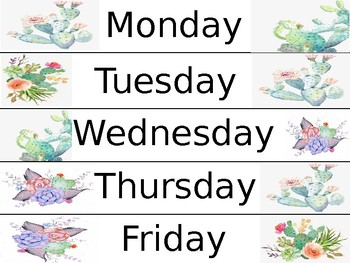 Succulent and Cacti Themed Days of the Week