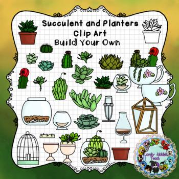 Succulents and Planters Clip Art