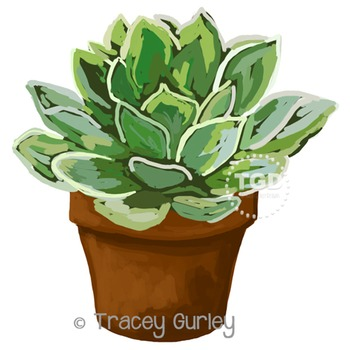 Succulent in Pot, succulent clip art Printable Tracey Gurley Designs