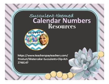 Succulent-themed Calendars Numbers