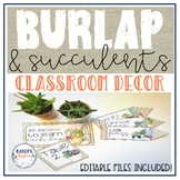 EDITABLE Succulent & Burlap classroom decor with cactus theme