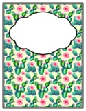 Succulents Cactus Binder Cover and Spines, Back to School