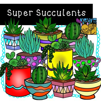 Succulents and Cactus Clip Art by Kid-E-Clips Commercial a