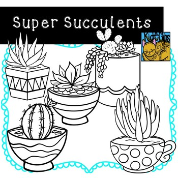 Succulents and Cactus Clip Art by Kid-E-Clips Commercial and Personal
