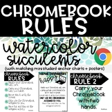 Watercolor Succulent Plants-Chromebook Rules Posters - Anchor Charts - Farmhouse